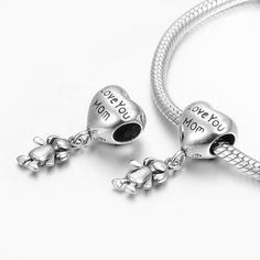 Fall New Arrival I Love You Mom Cute Girl Dangle Charm 925 Sterling Silver Pandora Compatible