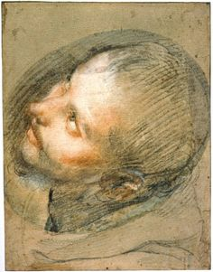 Federico Barocci - Study for the head of Saint Francis, c. 1571-76, black, red and white chalk and pink pastel, 34.5 x 28.8 cm., Edinburgh, National Galleries of Scotland