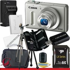 Canon PowerShot S100 Digital Camera (Silver) 8GB Package 4 by Canon. $381.89. Package Contents:  1- Canon PowerShot S100 12.1 MP Digital Camera (Silver) w/ All Supplied Accessories 1- 8GB SDHC Class 10 Memory Card 1- Rapid External Ac/Dc Charger Kit   1- USB Memory Card Reader  1- Rechargeable Lithium Ion Replacement Battery  1- Weather Resistant Carrying Case w/Strap  1- Pack of LCD Screen Protectors  1- Camera & Lens Cleaning Kit System  1- Mini Flexible Table Top Tripod 1- ...
