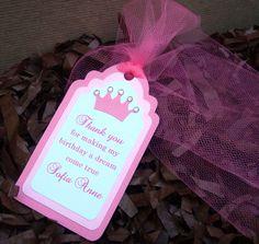 Handmade Pink Princess Royal Crown Thank You Tag for Girl with Embellishment Girl Birthday Cards, Thank You Tags, Crown Royal, Pink Princess, Embellishments, Baby Shower, Treats, Christmas Ornaments, Holiday Decor