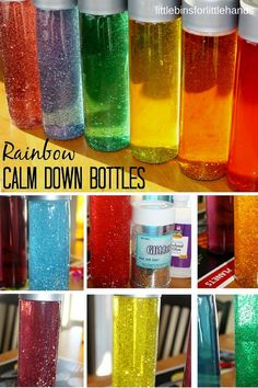 Rainbow glitter bottle calm down sensory bottle for kids. Easy and inexpensive glitter bottles kids can make. Great for time out alternatives, stress and anxiety relief, and sensory processing disorders in kids and adults.
