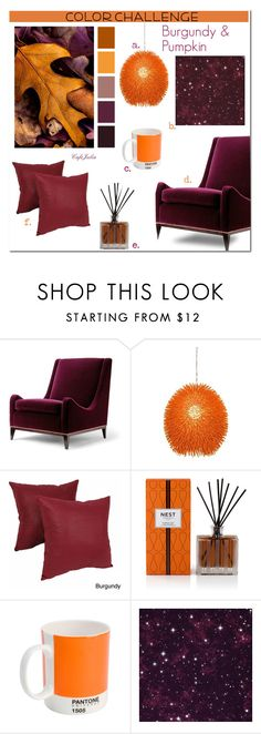 """Pumpkin & Burgundy"" by cafejulia ❤ liked on Polyvore featuring interior, interiors, interior design, home, home decor, interior decorating, Varaluz, Blazing Needles, Nest Fragrances and Pantone"