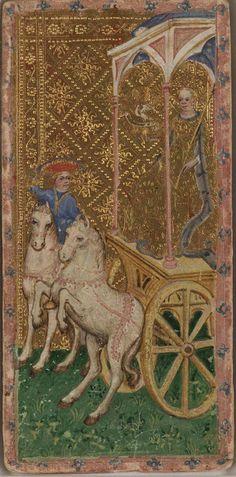 The Chariot -- Cary-Yale Visconti Tarot Deck, Italy, ca 1441