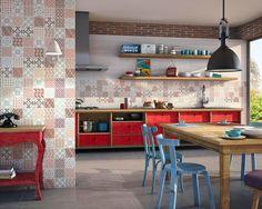 Dune AL-ANDALUS - kolorowa kuchnia z otwartymi półkami - zobacz na myhome.pl
