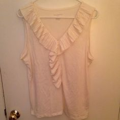 Women's Talbot's Tank Top Blouse, Size XL Women's Talbot's tank top blouse. Cream colored. Size extra large. Manufactured by Talbot's. Made in Indonesia. Fabric is 65% polyester, 35% rayon. There is a ruffle like pattern around the neck and down the chest into the stomach area. Ruffles also appear on the sleeves. The blouse has never been worn, but it doesn't have its tags. Talbots Tops Blouses