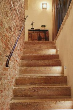 Beta Plus- stone stairway + brick wall + simple iron stair rail.