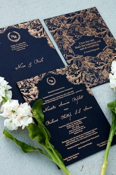 Wedding invitation in royal blue - www.thebridedept.com