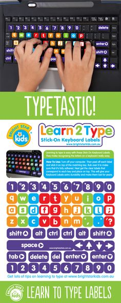 Give your kids the extra edge in school by helping them learn to type. For only $9.95 you can purchase them online here: http://www.brightstarkids.com.au/Learn-To-Type-Labels.aspx?p86 #learn #type #keyboardlabels