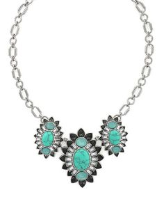 Loving this Turquoise & Silvertone Drama Necklace on #zulily! #zulilyfinds