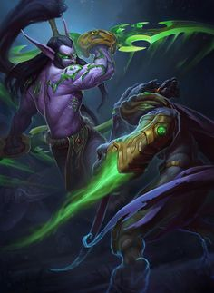 illidan vs zeratul by callergix - Digital Art by Callergi ! Warcraft Heroes, World Of Warcraft 3, World Of Warcraft Characters, Warcraft Art, Fantasy Male, Fantasy Warrior, Dark Fantasy, Illidan Stormrage, Night Elf