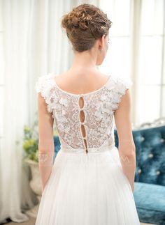 Vestidos princesa/ Formato A Decote redondo Longos Tule Renda Vestido de noiva com Bordado fecho de correr Lantejoulas (002052653)