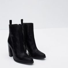 Image 7 of HIGH HEEL LEATHER ANKLE BOOTS WITH PULL TAB from Zara