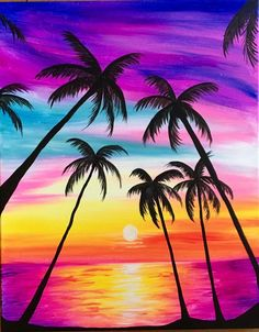 What is Your Painting Style? How do you find your own painting style? What is your painting style? Is there a way to make sure you have it? Easy Canvas Painting, Summer Painting, Simple Acrylic Paintings, Easy Paintings, Beach Sunset Painting, Sunset Paintings, Paradise Painting, Sunset Beach, Landscape Paintings