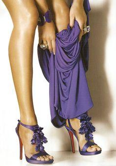 Love the purple shoes The Purple, Purple Shoes, Blue Heels, All Things Purple, Shades Of Purple, Purple Sandals, Purple Accessories, Purple Rain, Strappy Sandals