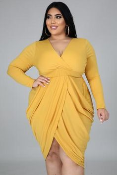 Plus Size Bodies, Plus Size Beauty, Shorts, The Dress, Plus Size Dresses, Wrap Dress, Bodycon Dress, Long Sleeve, Sleeves