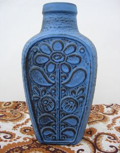 """Fantastic retro Mid Century ceramic vase from West Germany. It's absolutely gorgeous! It has a really folky flower deover deep brown. Design by Dieter Peter for Carstens """"Luxus"""" range (Carstens Toennieshof)"""