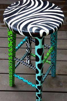 Painted stool zebbre #paintedfurniturewhimsical