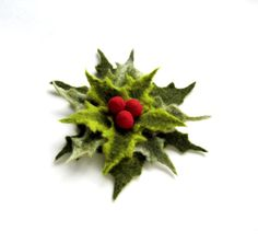 Holly with berry Christmas Flower Red Pin felt by MSbluesky