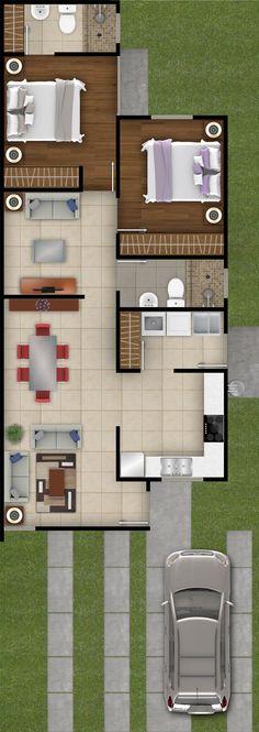 Mexicali, Tijuana, Guadalajara, Hermosillo y Los Mochis. Dream House Plans, Modern House Plans, Small House Plans, House Floor Plans, The Plan, How To Plan, House Layouts, Home Deco, Future House