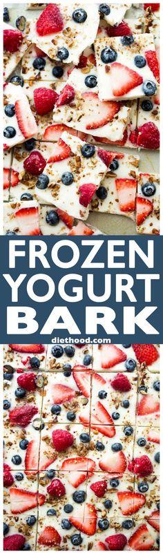 Yogurt Bark with Berries - Frozen yogurt studded with gorgeous blue and r., Frozen Yogurt Bark with Berries - Frozen yogurt studded with gorgeous blue and r., Frozen Yogurt Bark with Berries - Frozen yogurt studded with gorgeous blue and r. Healthy Deserts, Healthy Dessert Recipes, Healthy Sweets, Healthy Drinks, Snack Recipes, Healthy Eating, Cooking Recipes, Baking Snacks, Healthy Food