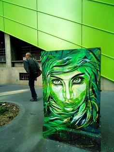 Street art by Paris, France based artist Christian Guémy aka C215