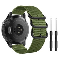 Buy MoKo Band Compatible with Garmin Fenix Fine Woven Nylon Adjustable Replacement Strap with Metal Buckle for Garmin Fenix Plus/Instinct/Forerunner Smart Watch- Army Green Samsung Gear S, Running Gps, Metal Buckles, Sport Watches, Army Green, Watch Bands, Smart Watch, Touch, Model