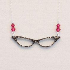 Retro Cat's Eye Glasses Necklace Swarovski by OttavaDesigns