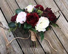 Boho Bouquet Burgundy and Blush Bouquet Wildflower Bouquet #BurgundyWeddingIdeas