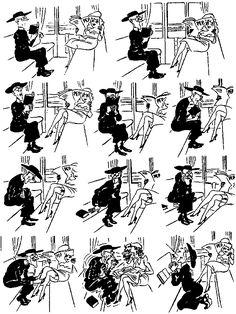 Devil in Skirt. Vintage cartoons by the Danish artist Herluf Bidstrup.