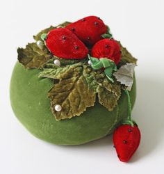 Vintage Strawberry Pincushion  Green and Red Velvet