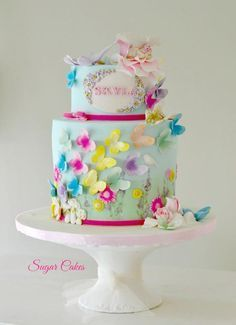 """""""Flying Butterflies"""" by Sugar Cakes (decorating cakes for teens) Butterfly Birthday Cakes, Birthday Cakes For Teens, Baby Birthday Cakes, Butterfly Cakes, Cakes With Butterflies, Butterfly Party, Butterflies Flying, Fairy Garden Cake, Garden Cakes"""