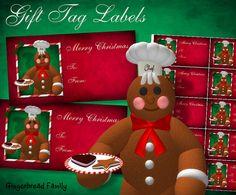 "Gingerbread Man ""Cookies"" Gift Tag Labels - Digital Download by DinkyPrints"