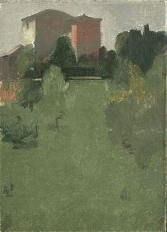 'Farmhouses, Umbria' by American painter Yael Scalia (b.1948). Oil on canvas mounted on board, 33 x 24 cm. via Rothschild Fine Art