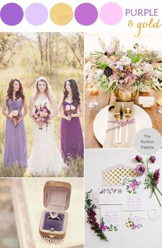 Purple and gold:www.theperfectpalette.com - Color Ideas for Weddings + Parties