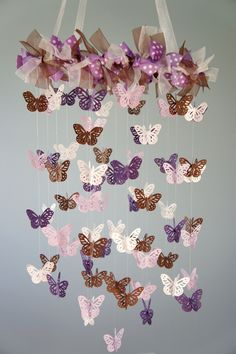 Butterfly nursery mobile - purple, lavender, and brown crib mobile on luulla Butterfly Nursery, Butterfly Mobile, Butterfly Party, Crochet Butterfly, Diy Mobile, Brown Crib, Diy For Girls, Baby Crafts, Baby Decor