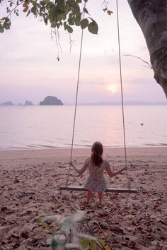 Swinging into sunset in Krabi, Thailand. Serene and luxurious Ao Thalane area, North West of Krabi. Secluded beaches and nice gateway for private tours to Koh Hong and other smaller islands in the area.
