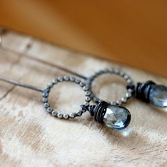 Long Skinny Handmade Sterling Silver Earrings Blue Mustic Quartz Wire Wrapped Bead Oxidized Silver Winter Fashion