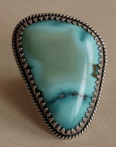 Navajo Silver and Turquoise Ring by Fred Thompson c 1960s