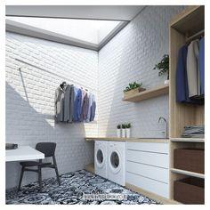 "Interlook® | Home Custom on Instagram: ""Aktivitas mencuci baju, mengeringkan baju, hingga merapihkan baju yang terdapat pada satu ruang akan mempermudah kalian tanpa harus mondar-…"" Pantry Laundry Room, Laundry Room Bathroom, Laundry Room Organization, Outdoor Laundry Rooms, Drying Room, Dirty Kitchen, Tiny Bathrooms, Balcony Design, Laundry Room Design"