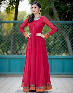 Red Ananya Fit And Flare Handloom Dress Saree Gown, Anarkali Dress, Lehenga, Sarees, Indian Gowns Dresses, Modest Dresses, Maxi Gowns, Long Dresses, Indian Outfits