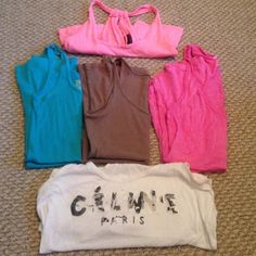 5 tanks all medium. Celine one SOLD,! Takes them all for $15! Tops