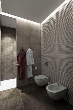 3D falburkolatok, LED fények, természetes anyagok és színek egy 78m2-es lakásban