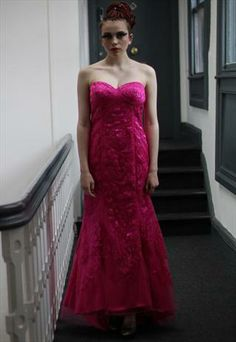 90's vintage Hot pink lace long fishtail maxi prom dress  from Pretty Disturbia £50
