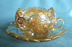 Antique Art Nouveau MOSER Glass Hand Painted Enamel Cup and Saucer   early 20th century