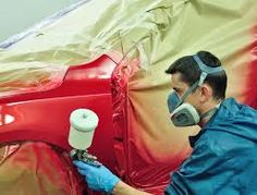 There are four main types of auto paint: acrylic lacquer, acrylic enamel, acrylic urethane and water-based. Most auto paint. Auto Body Repair, Car Repair, Vehicle Repair, Repair Shop, Car Painting, Spray Painting, Painting Tips, Body Painting, Car Restoration