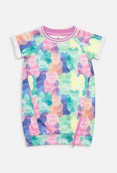 Платье детское для девочек цветное, цветное (20220200014). Размеры: 98, 104, 110, 116, 122, 128. Маленькое фото. Вид спереди. Вид сзади.