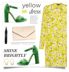 """Shine Brightly"" by marina-volaric ❤ liked on Polyvore featuring Giamba, Rupert Sanderson, MR., MAC Cosmetics, Witchery and yellowdress"