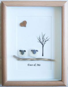 This is a beautiful small Pebble Art framed Picture of 2 Sheep - Ewe & Me handmade by myself using Pebbles, Needle Craft Sheep, Driftwood & Wooden Heart Size of Picture incl Frame : approx. 22cm x 17cm This Picture is finished and only available as shown in Photo Thanks for looking Doris Facebook : https://facebook.com/Pebbleartbyjewlls4u Product Code: P - Pink