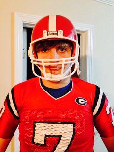 Sam fooling around in 2013 wearing Grayson's UGA uniform