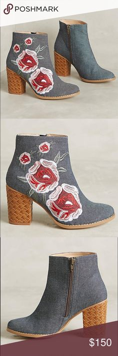 "Anthropologie Booties Billy Ella Briarwood Boots by Billy Ella Femme denim booties with floral embroidery and a woven leather heel, from Billy Ella. Fits true to size Side zip Cotton denim upper Embroidered detail Leather insole, sole Made in Brazil Style No. 38416194 3.5"" leather wrapped heel 4.5""H Anthropologie Shoes Ankle Boots & Booties"